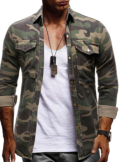 cheap Men's Tops-Men's Camo / Camouflage Shirt Long Sleeve Daily Tops Denim Basic Elegant Button Down Collar Army Green