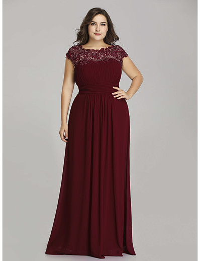 cheap Mother of the Bride Dresses-A-Line Jewel Neck Floor Length Chiffon Short Sleeve Plus Size Mother of the Bride Dress with Lace / Ruching 2020