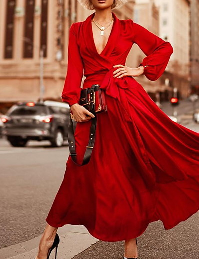 cheap Daily Dresses-Women's Elegant Swing Dress - Solid Colored Red S M L XL
