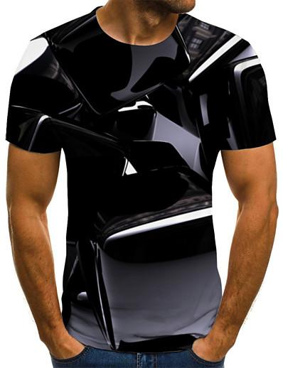 cheap Men's 3D-Men's T shirt Shirt Graphic Geometric 3D Plus Size Pleated Print Short Sleeve Weekend Tops Streetwear Round Neck Black / Summer