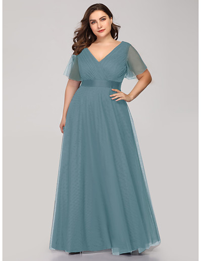 cheap WEDDING-A-Line V Neck Floor Length Tulle Bridesmaid Dress with Sash / Ribbon / Ruching / Butterfly Sleeve