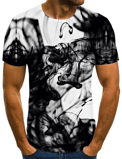 cheap Men's 3D-Men's T shirt Graphic Abstract Plus Size Pleated Print Short Sleeve Daily Tops Streetwear Exaggerated Black