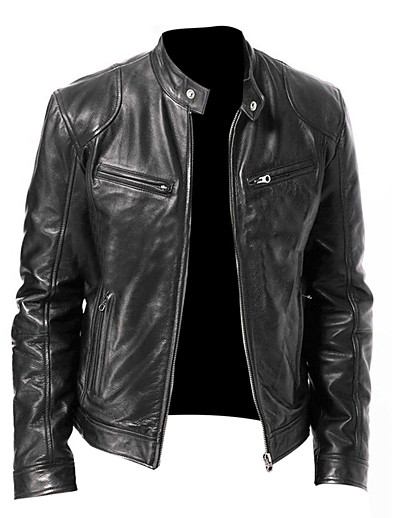 cheap Men's Outerwear-Men's Solid Colored Basic Fall Faux Leather Jacket Regular Daily Long Sleeve Polyester Coat Tops Black