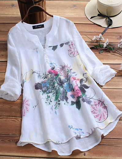 cheap TOPS-Women's Chinoiserie / Elegant Plus Size Loose Shirt - Floral Print V Neck White