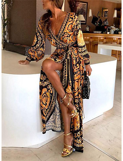 cheap 2021 Trends-Women's Wrap Dress Maxi long Dress Yellow Long Sleeve Other Print Spring & Summer Deep V Hot Boho vacation dresses 2021 S M L XL XXL