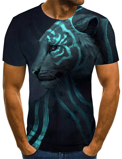 cheap Men's 3D-Men's T shirt Color Block 3D Animal Print Short Sleeve Going out Tops Streetwear Punk & Gothic Army Green
