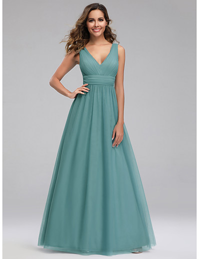 cheap Bridesmaid Dresses-A-Line V Neck Floor Length Tulle Bridesmaid Dress with Ruching
