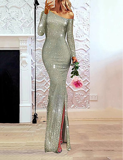 cheap Party Dresses-Women's Maxi Beige Dress Elegant A Line Solid Colored One Shoulder Sequins S M