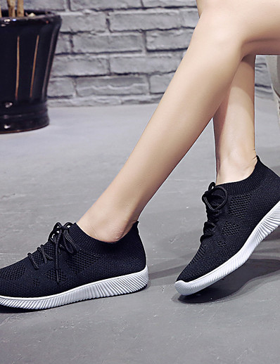 cheap Sneakers-Women's Athletic Shoes Flat Heel Round Toe Tissage Volant Sporty Cycling Shoes / Walking Shoes Spring &  Fall / Summer Black / White / Pink