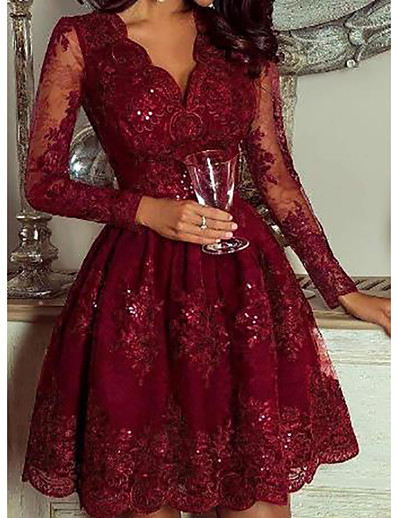 cheap CHRISTMAS GIFTS-Women's Daily Wear Elegant A Line Dress - Geometric Sequins Deep V Wine M L XL XXL