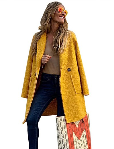 cheap Trench Coats-Women's Daily Long Coat, Solid Colored Straight Collar Long Sleeve Polyester Yellow