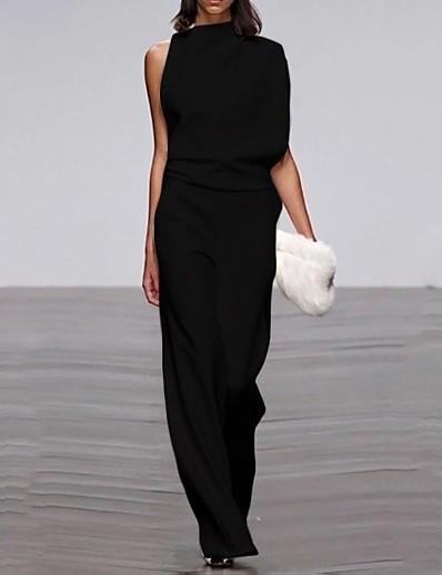 cheap SALE-Women's Black Slim Jumpsuit Onesie, Solid Colored Patchwork S M L