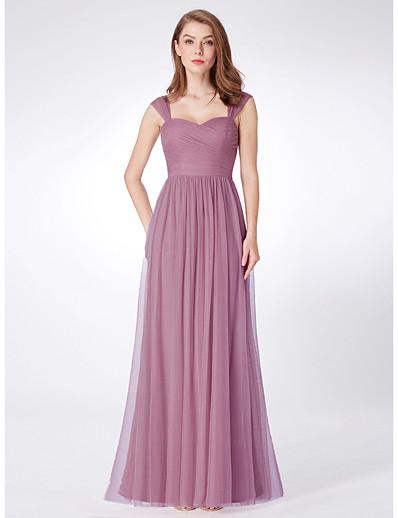 cheap WEDDING-A-Line Sweetheart Neckline Floor Length Tulle Bridesmaid Dress with
