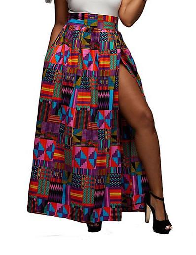 cheap Bottoms-Women's Pencil Skirts Color Block Purple / Maxi