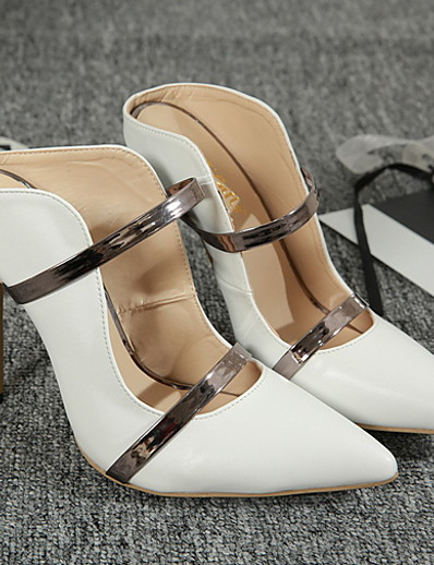 cheap Sandals-Women's Heels Stiletto Heel Pointed Toe PU Spring & Summer Black / White