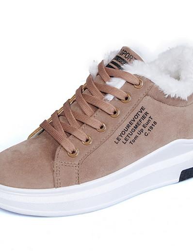 cheap Sneakers-Women's Sneakers Flat Heel Round Toe Suede Booties / Ankle Boots Fall & Winter Black / Brown / Beige