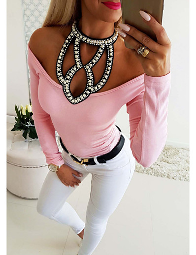 cheap TOPS-Women's Daily Basic Blouse - Solid Colored Cut Out / Rivet Halter Neck Blushing Pink