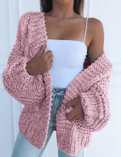 cheap DOWN TO $0.99-Women's Solid Colored Long Sleeve Loose Cardigan Sweater Jumper, V Neck Black / Light Blue / Blushing Pink S / M / L