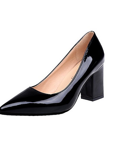 cheap Pumps & Heels-Women's Heels Chunky Heel Pointed Toe Rubber / PU Summer Black / White / Burgundy