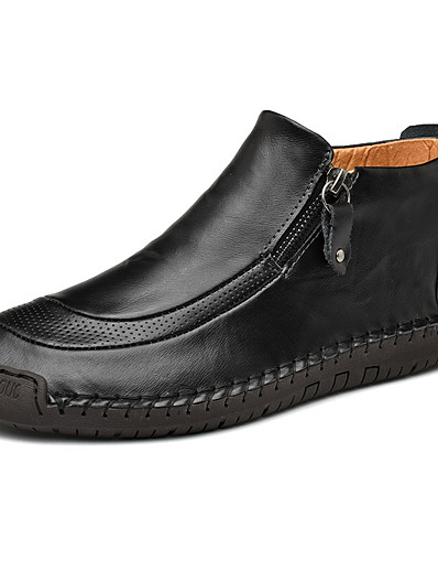 cheap MEN-Men's Leather Shoes Nappa Leather Fall Loafers & Slip-Ons Black / Brown / Wine / Party & Evening