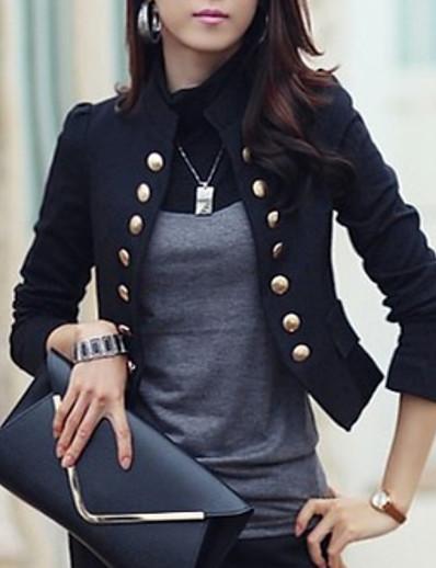 abordables Blazers Femme-Veste Femme Blazer, Couleur Pleine Mao Polyester Blanche / Noir