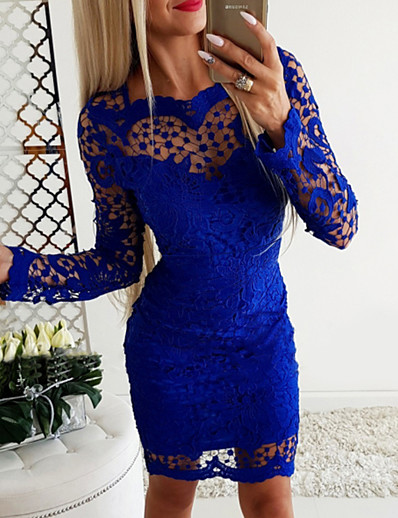 cheap Party Dresses-Women's Basic Bodycon Dress - Solid Colored Royal Blue S M L XL
