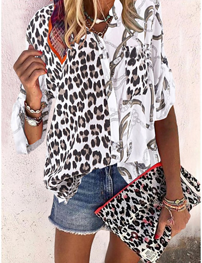 cheap Blouses & Shirts-Women's Causal Daily Blouse - Leopard Black / V Neck