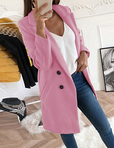 cheap Jackets-Women's Daily Basic Fall & Winter Long Pea Coat, Solid Colored Stand Long Sleeve Polyester Black / Blushing Pink / Yellow