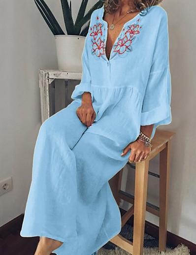 cheap Boho Dresses-Women's Swing Dress - Floral Light Blue Yellow Gray S M L XL