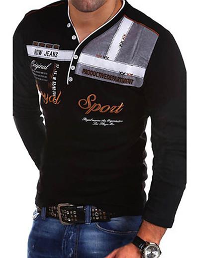 cheap MEN-Men's Slim T-shirt - Letter V Neck Black