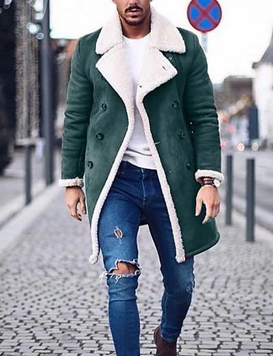 cheap MEN-Men's Coat Regular Solid Colored Daily Long Sleeve Black Green Gray US34 / UK34 / EU42 US36 / UK36 / EU44 US38 / UK38 / EU46 US40 / UK40 / EU48
