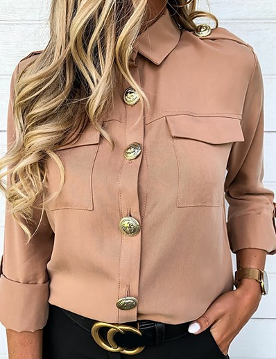 cheap SALE-Women's Solid Colored Shirt Daily Shirt Collar Blushing Pink