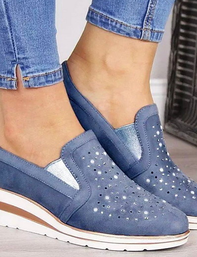 cheap Sneakers-Women's Sneakers Flat Heel Round Toe Suede Fall & Winter Blue / Pink / Gray
