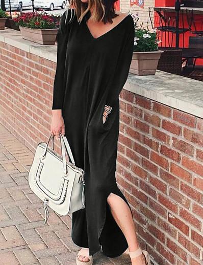 cheap Boho Dresses-Women's Abaya Dress - Solid Colored Black Wine Blue S M L XL