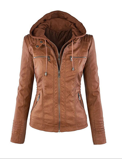 cheap Furs & Leathers-Women's Spring Leather Jacket Daily Weekend Vintage Street chic Regular Solid Colored Cotton Light Brown / White / Black M / L / XL