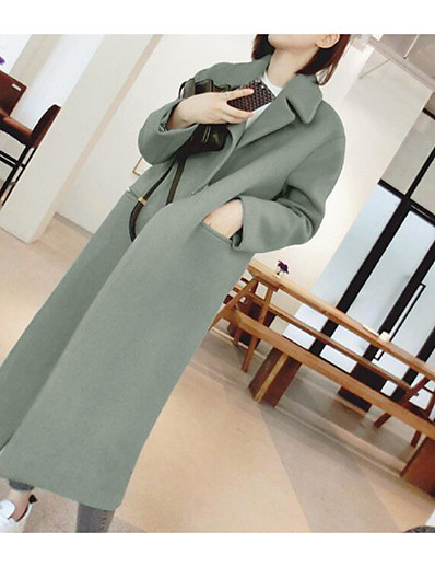 cheap OUTERWEAR-Women's Daily Basic Fall & Winter Long Coat, Solid Colored Mandarin Long Sleeve Cotton Black / Green / Khaki