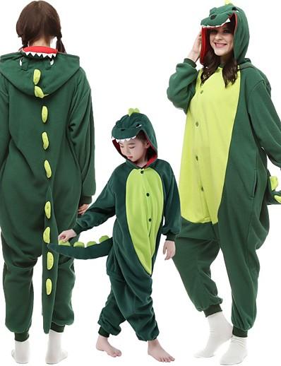 cheap Kigurumi Pajamas-Kid's Adults' Cosplay Costume Costume Kigurumi Pajamas Monster Dinosaur Onesie Pajamas Polyester Microfiber Red / Dark Green Cosplay For Men's Women's Women Animal Sleepwear Cartoon Festival / Holiday