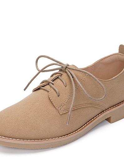 cheap Flats-Women's Oxfords Flat Heel Round Toe PU Fall & Winter Brown / Light Brown / Pink / Daily