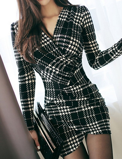 cheap Work Dresses-Women's Elegant Sheath Dress - Plaid Black White S M L XL