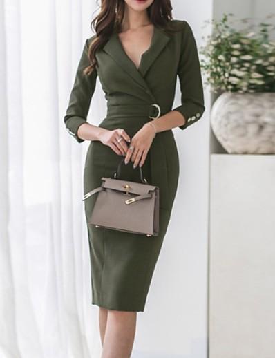 preiswerte Knielange Kleider-Damen Etuikleid Armeegrün 3/4 Ärmel Solide Tiefes V S M L XL