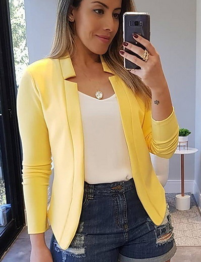 cheap Jackets & Blazers-Women's Blazer, Solid Colored Peaked Lapel Polyester Black / White / Yellow