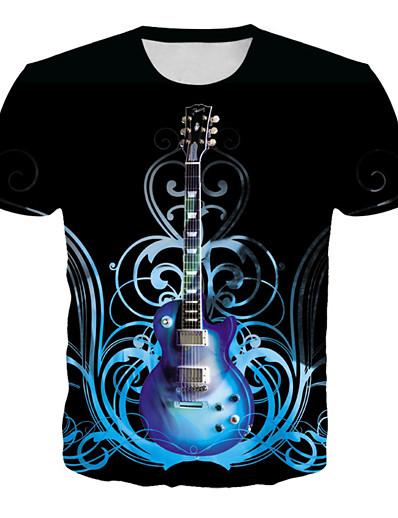cheap Men's 3D-Men's T shirt Graphic Geometric 3D Plus Size Print Short Sleeve Daily Tops Basic Rock Black