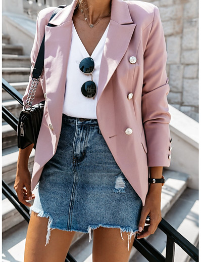 cheap Jackets & Blazers-Women's Blazer V Neck Polyester Wine / Blushing Pink / Blue