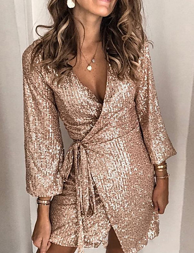 cheap Party Dresses-Women's 1920s Elegant Mini Slim Flapper Dress - Solid Colored The Great Gatsby, Sequins Deep V Gold S M L XL