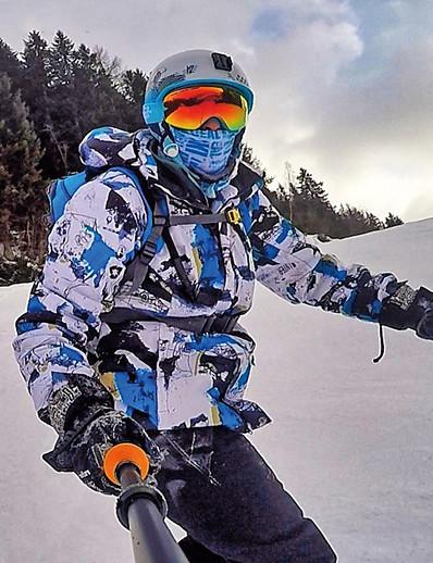 cheap Ski & Snowboard-MUTUSNOW Men's Hoodie Ski Suit Ski Jacket with Bib Pants Ski / Snowboard Hiking Multisport Thermal Warm Waterproof Windproof 100% Cotton Polyester Clothing Suit Ski Wear / Winter / Athletic