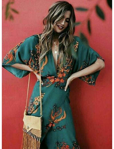 cheap Boho Dresses-Women's Daily Wear Street chic Shift Dress - Floral Print Green S M L XL