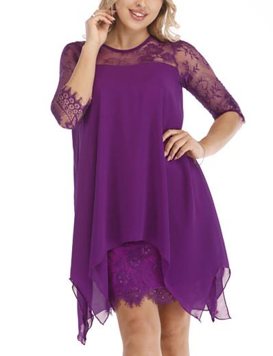 cheap High Low Dresses-Women's 2020 Plus Size Wine Purple Dress Spring & Summer Sheath Solid Colored S M Slim / Lace