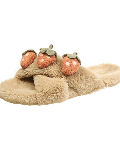 cheap Fashion-in Home-Women's Slippers & Flip-Flops Flat Heel Open Toe Faux Fur Fall & Winter Black / Green / Khaki