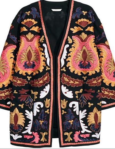 cheap Jackets & Blazers-Women's Daily Fall & Winter Long Coat, Geometric Collarless Long Sleeve Cotton Black