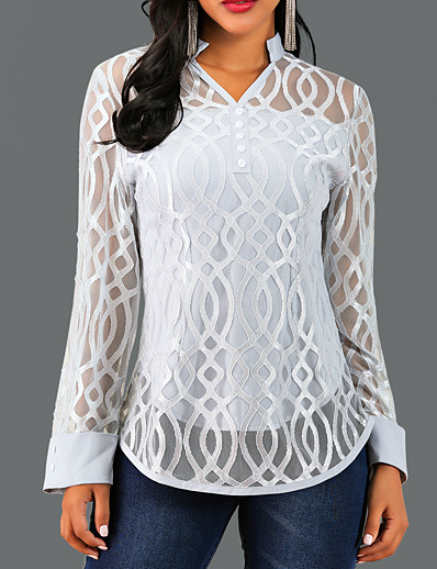 cheap DOWN TO $0.99-Women's Causal Blouse - Solid Colored / Geometry Lace V Neck Gray / Spring / Fall